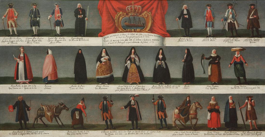Quadro que representa as Armas da Cidade de Lisboa, e as diversas maneiras de vestir de Portugal